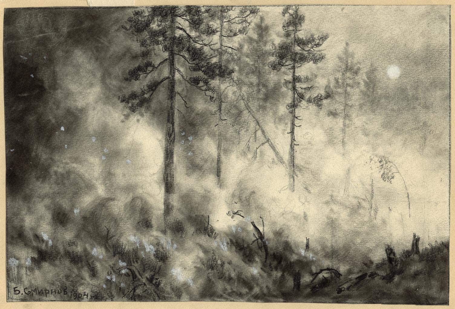 Пожар в тайге под Красноярском