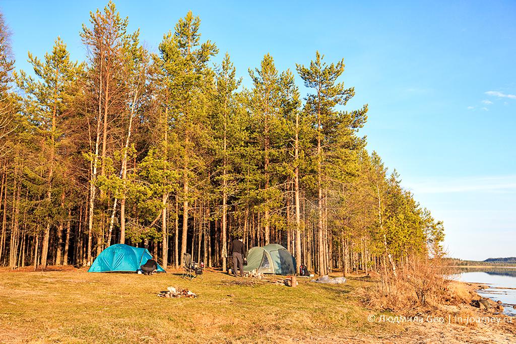 отдых в палатках на берегу Онежского озера
