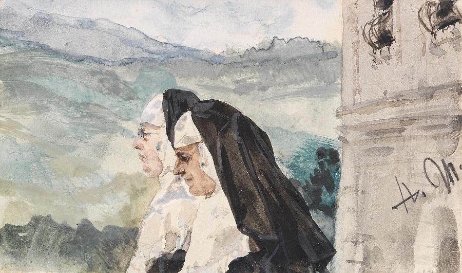 Zwei Nonnen im Klosterhof , 1870.Jpeg