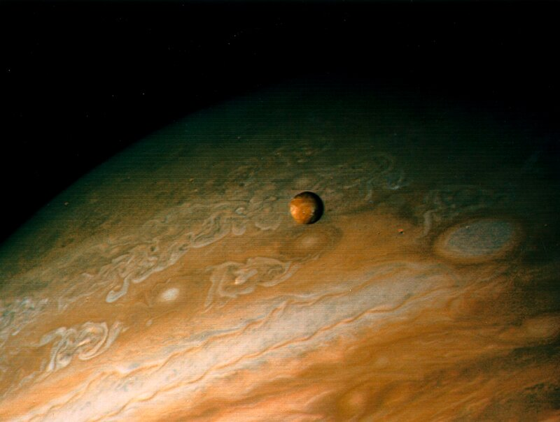 Jupiter and Io, one of its moons, 1979.