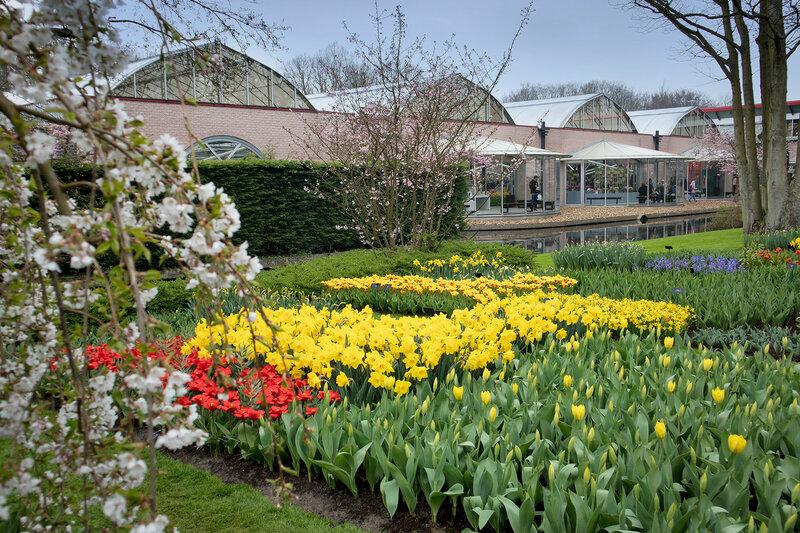 Geenhouse in the botanical garden of Keukenhof in spring