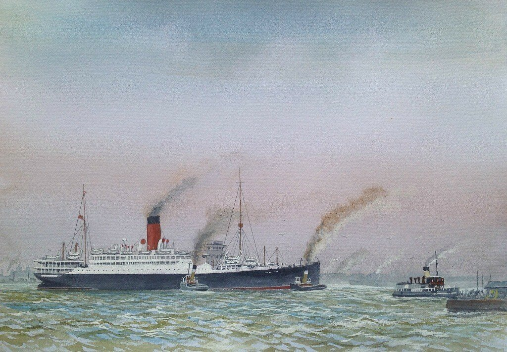 """Cunarder """"FRANONIA"""" swings round in the Mersey nearing the end of her eventful life time."""