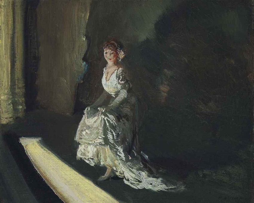Girl in White on Stage, circa 1910.