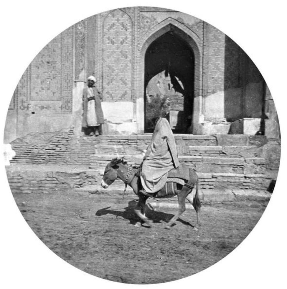 Некрополь Шахи Зинда. Женщина на ослике возле главного входа