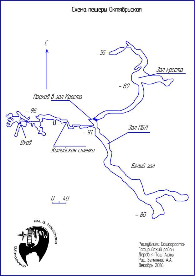 Карта Октябрьской пещера