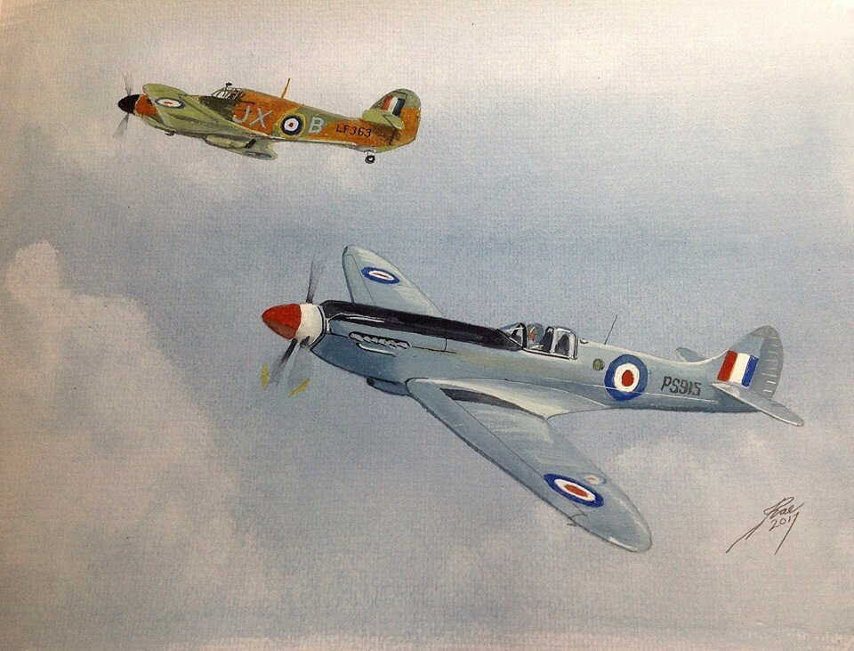 Forgot about this one from last year. Spitfire and Hurricane of the Battle of Britain Memorial Flight.