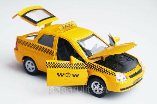 Машинка металлическая Lada Priora такси со светом и звуком