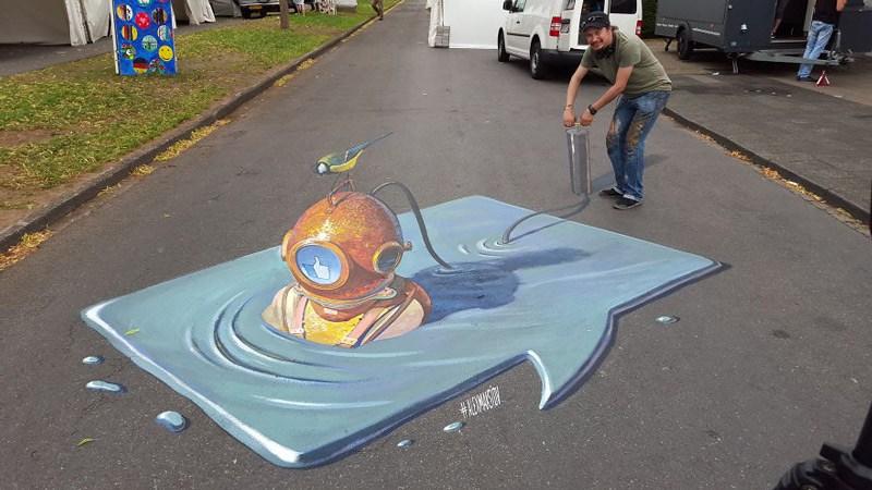 Artista encanta as ruas com suas pinturas realistas em 3D