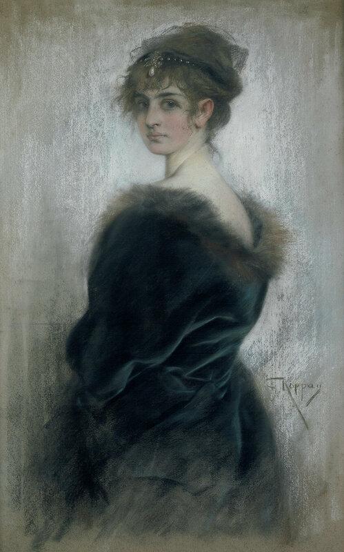 Josef Arpád Koppay - Galerie Bassenge.Bildnis einer jungen Dame mit Diadem im pelzbesetzten Umhang.
