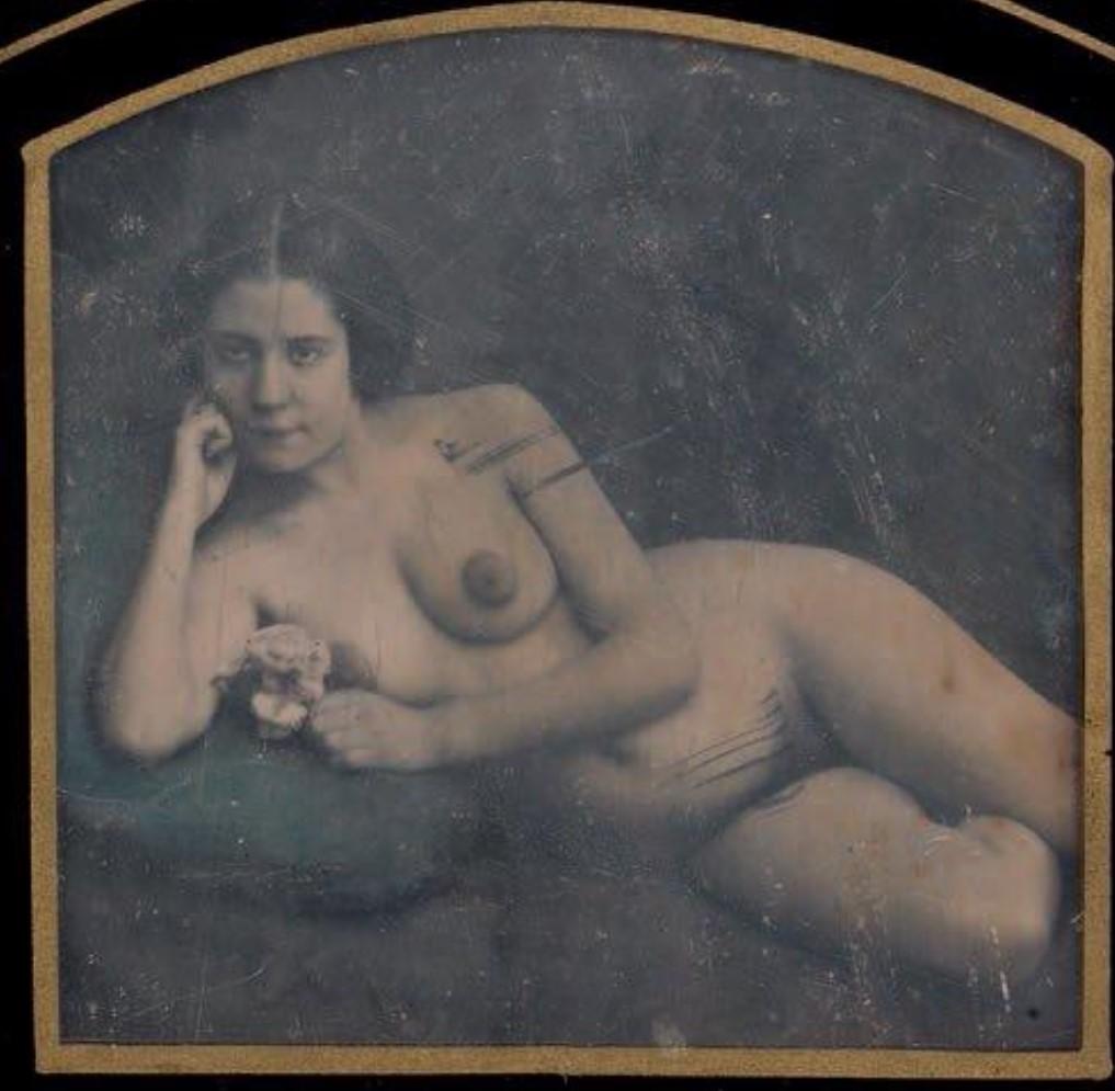 1850-1860. Обнаженная с розой