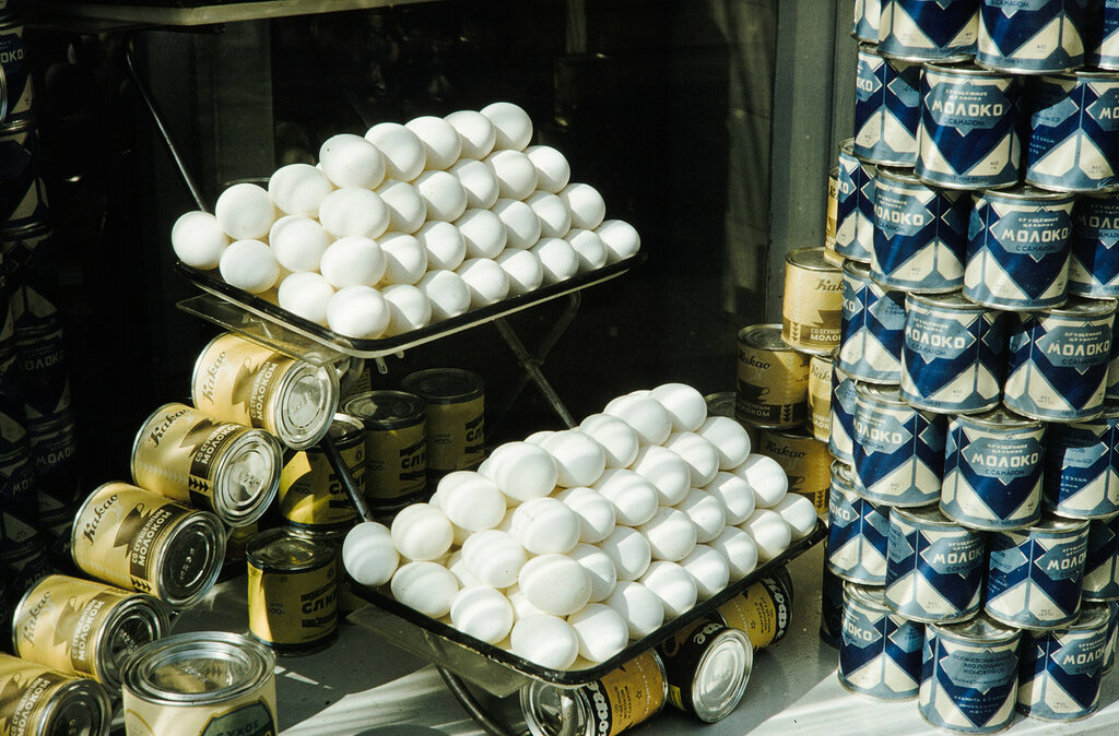 Russia, display of eggs and canned goods for sale