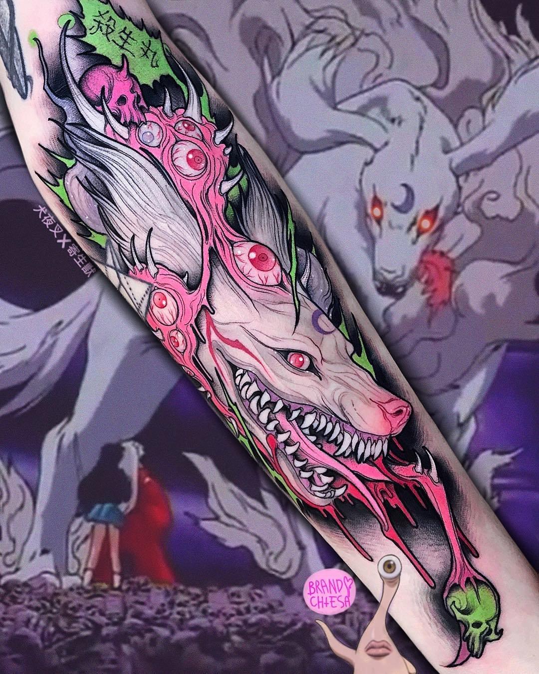 Уникальные татуировки сочетающие в себе аниме и ужастики