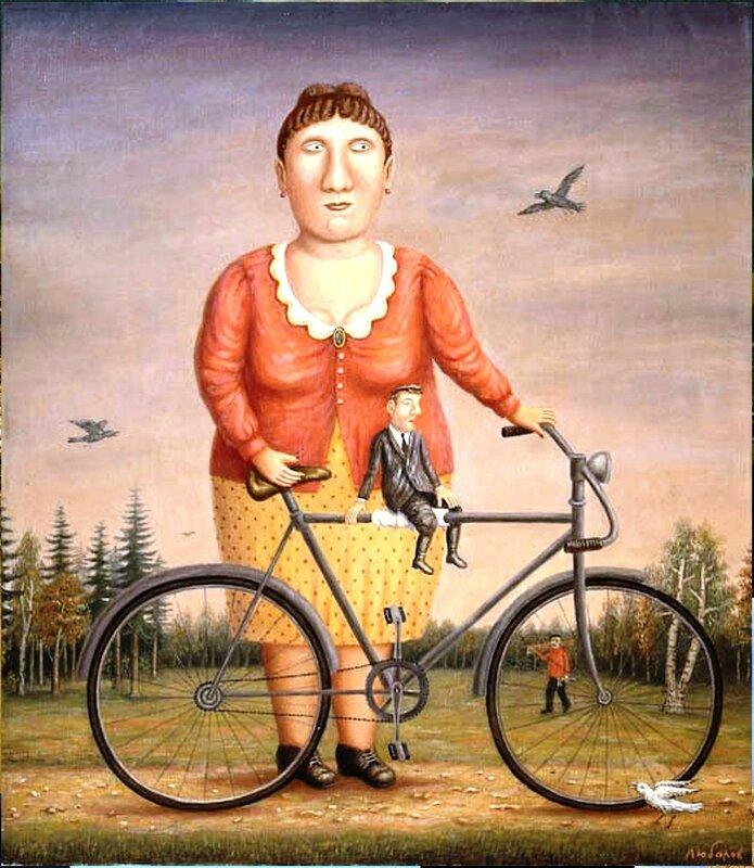 Прогулка с велосипедом и мужчиной , 2005 год, художник Владимир Любаров.jpg