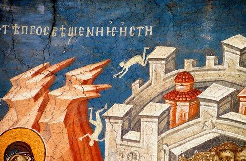 Бегство в Египет (Кондак 6 Акафиста ко Пресвятой Богородице). Фреска монастыря Высокие Дечаны, Косово, Сербия. Около 1350 года.