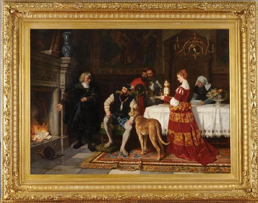 ANTON FÜGGER BURNING THE DEBENTURE BONDS OF CHARLES V IN 1535.