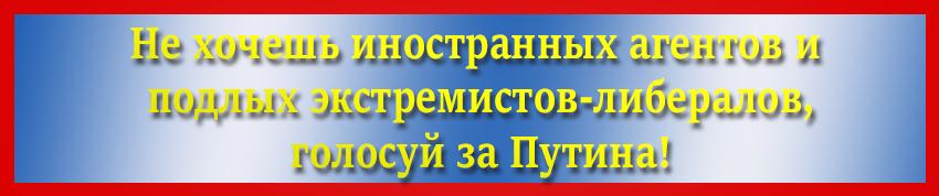 Не хочешь иностранных агентов и подлых экстремистов-либералов, голосуй за Путина