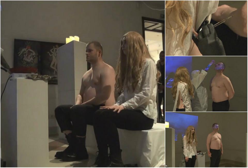 Латвийский художник пожарил и скормил моделям их плоть
