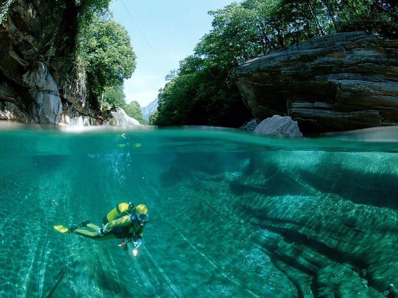 природа подводный мир красота природы реки озеро Швейцария озера путь