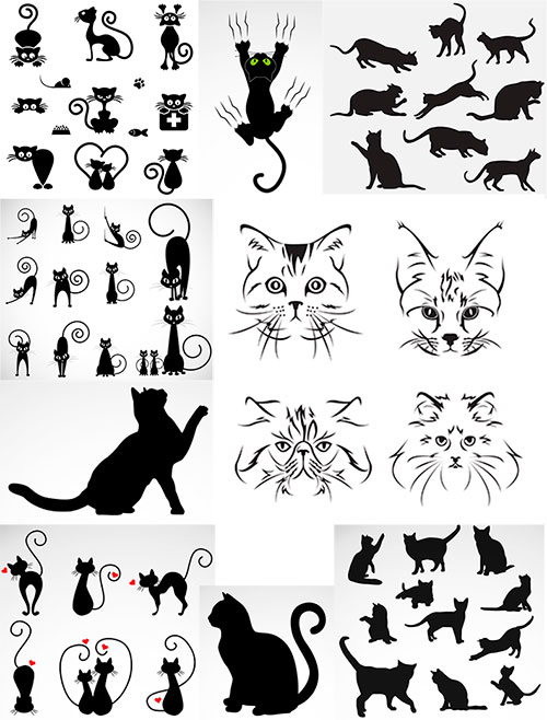 Чёрный кот - Вектор / Black cat - Vector