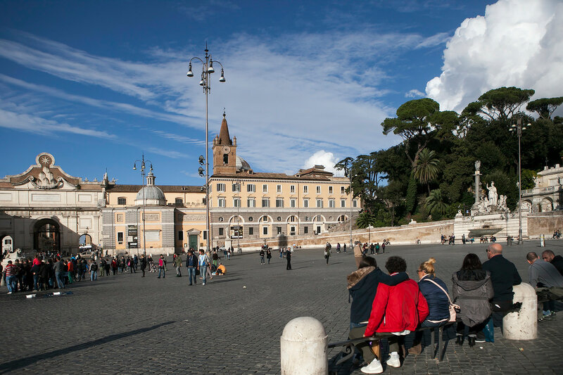 Obelisk in Piazza del Popolo, . Egyptian obelisk stands in the centre of the Piazza. Three sides of obelisk were carved during reign of Sety I and fourth side, under Rameses II.