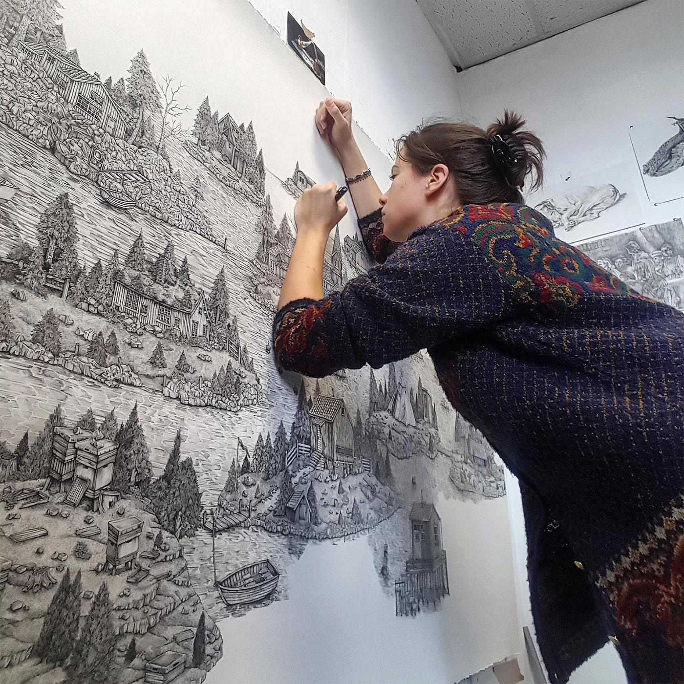Monumentally Detailed Pen Drawings That Combine Real and Imagined Landscapes by Olivia Kemp