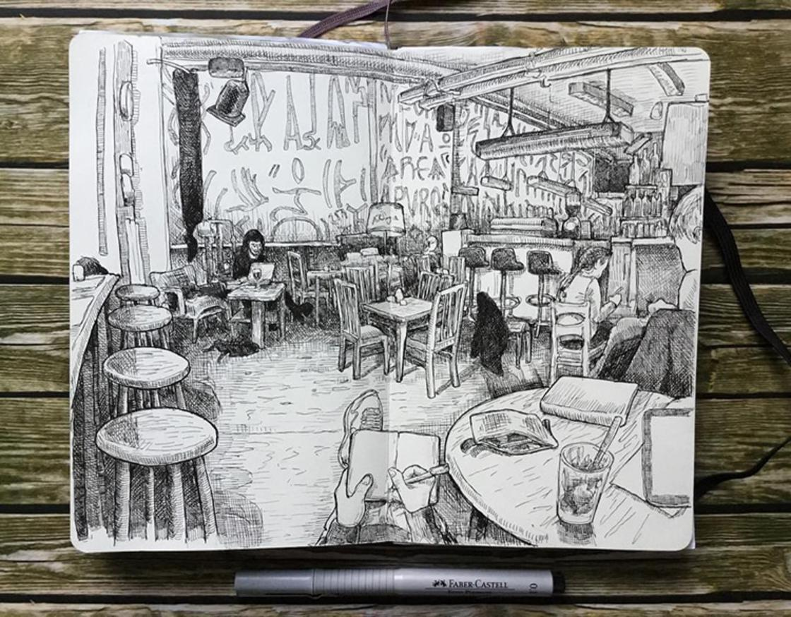 Berlin Sketchbooks – Il capture les rues de Berlin dans de jolis croquis