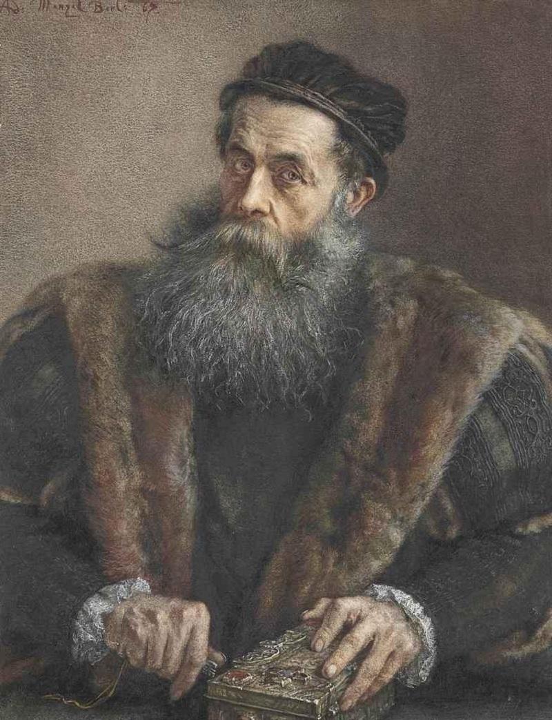 Пожилой мужчина в костюме 16-го века, держащий шкатулку с драгоценностями , 1867