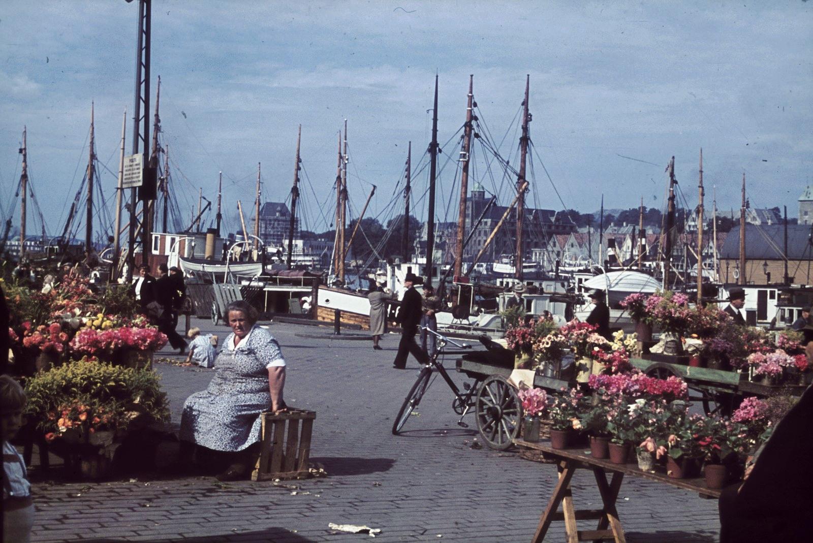 Осло. Цветочный рынок в порту