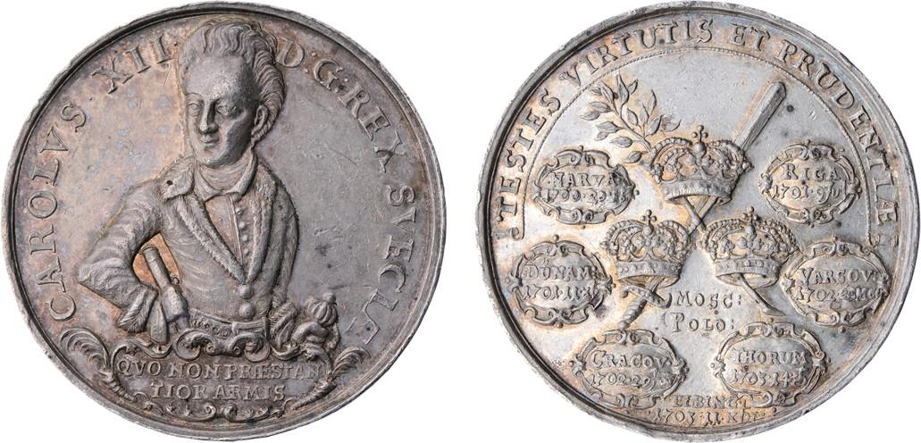 Настольная медаль «В память побед шведского короля Карла XII в 1700-1703 гг.»