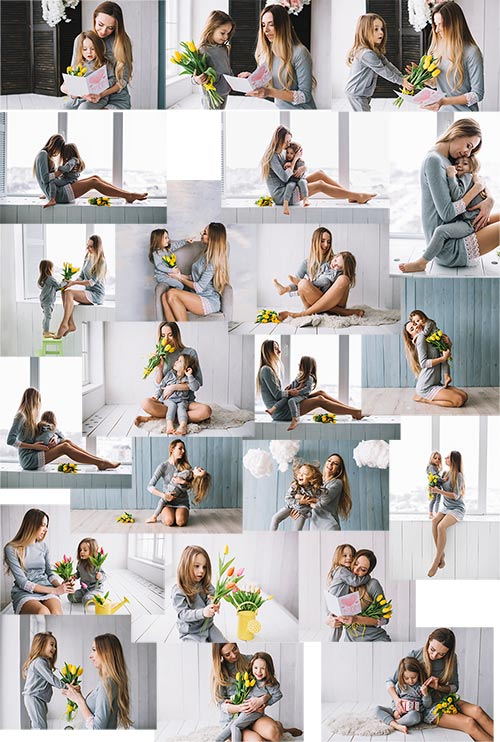Молодая мать и дочь - Клипарт / Young mother and daughter - Clipart