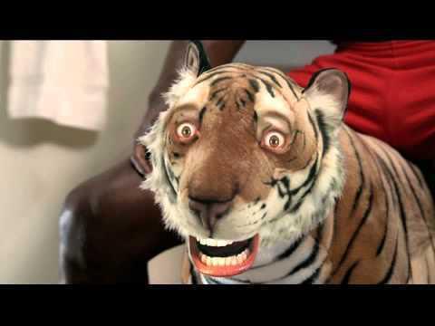Офицеры час не выходили из авто, боясь тигра, который на самом деле был игрушкой