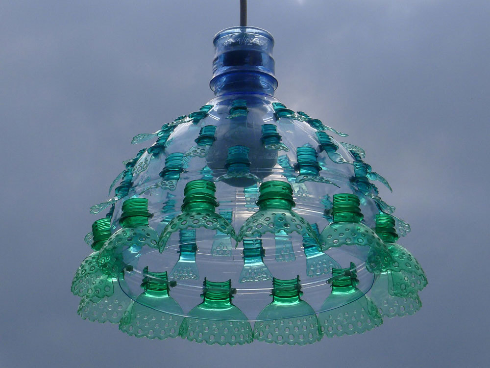 Chandeliers Constructed From Recycled Plastic PET Bottles by Veronika Richterova