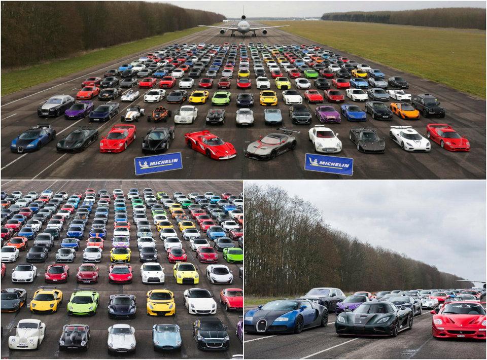 300 суперкаров общей стоимостью более £75 млн собрали на полигоне в Великобритании