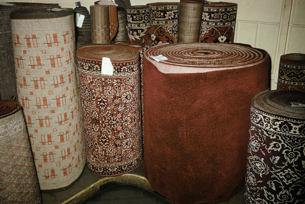 Russia, rugs for sale at store in Moscow