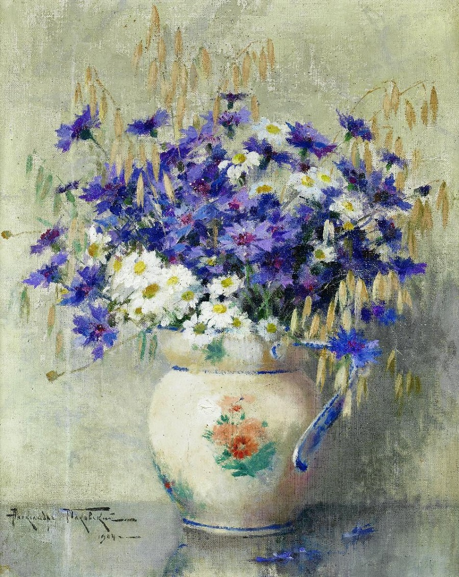 Still life with flowers in a vase , 1904.