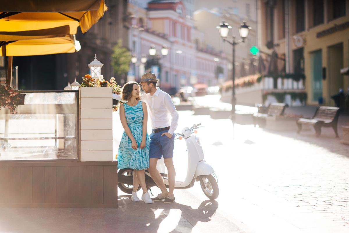 скутер, фотосъемка, москва, утро, пара