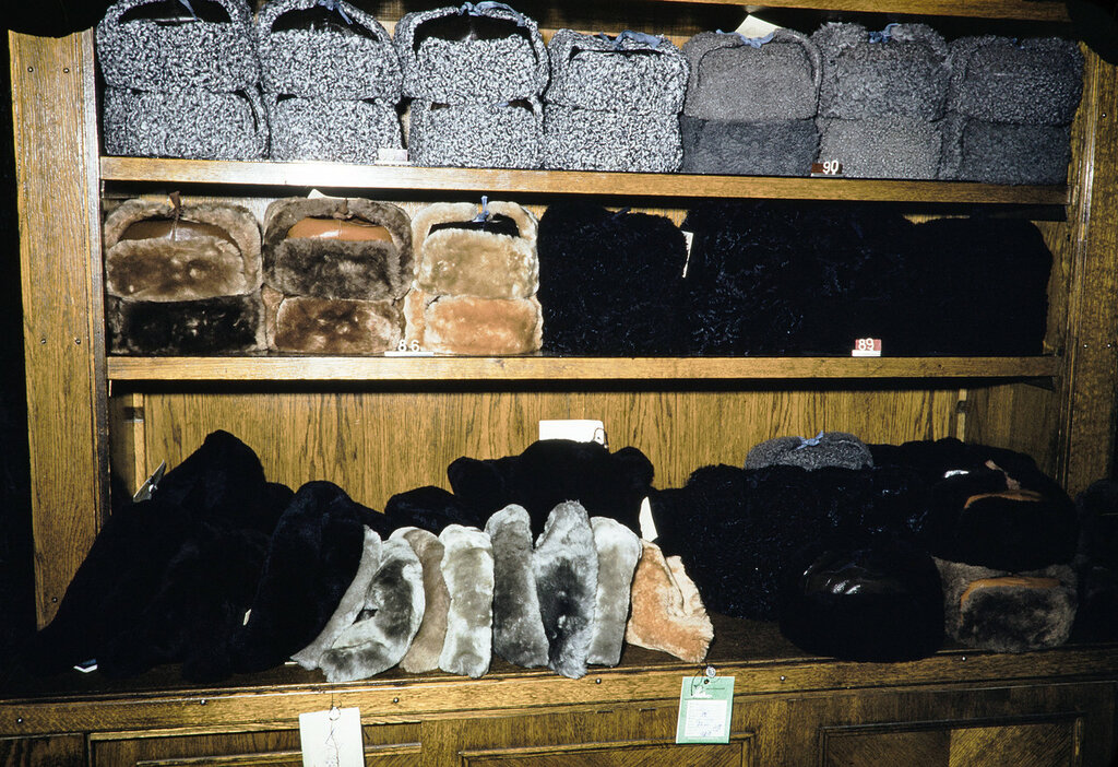 Russia, fur hats for sale at store in Moscow