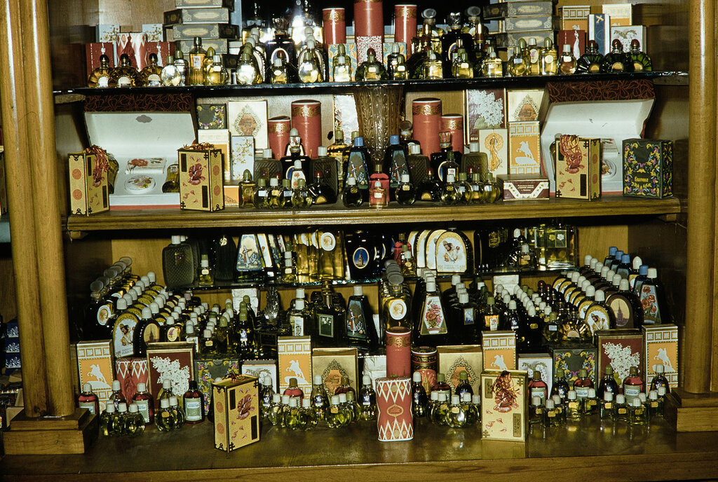 Russia, perfume display at store in Moscow