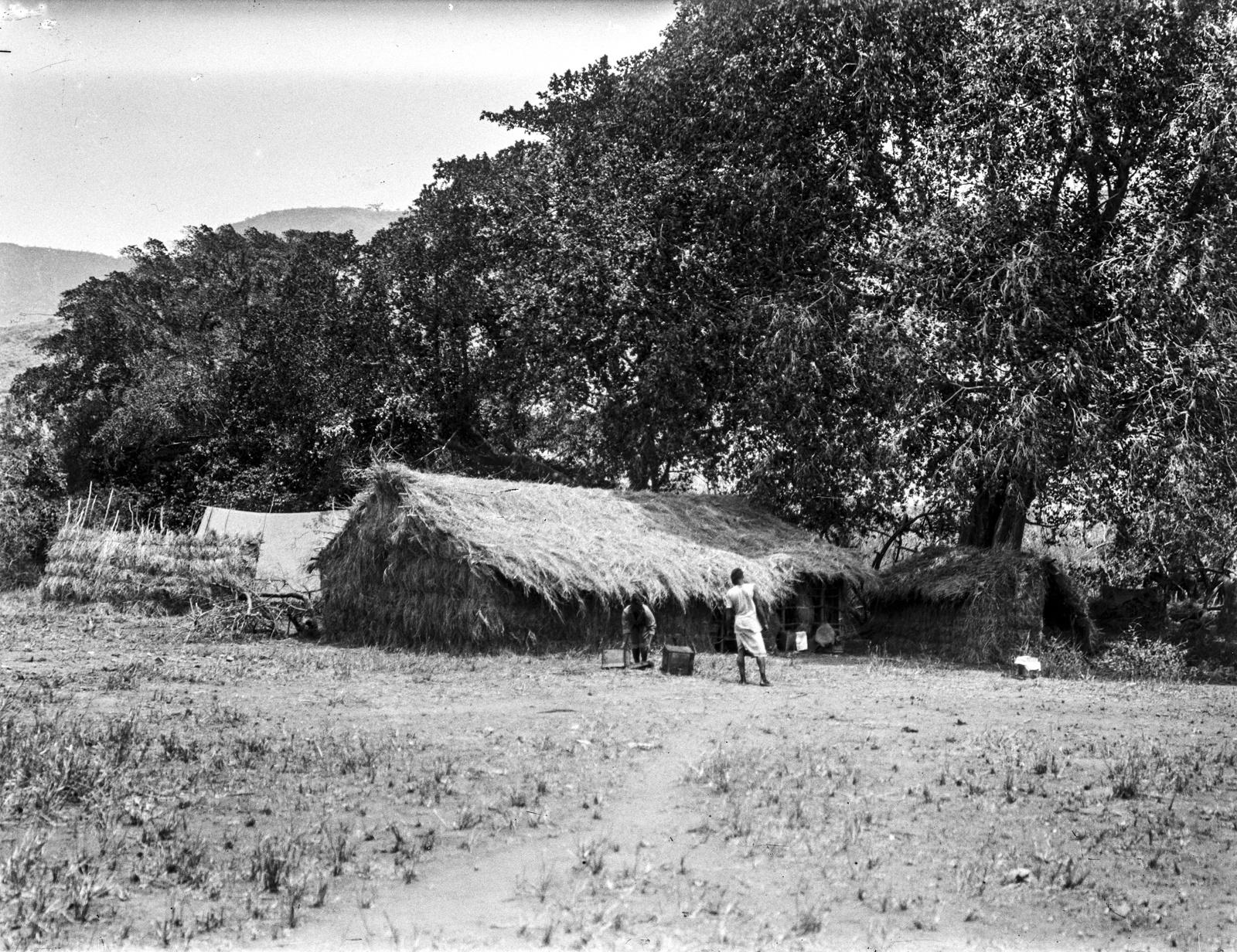 238. Два аборигена перед хижиной