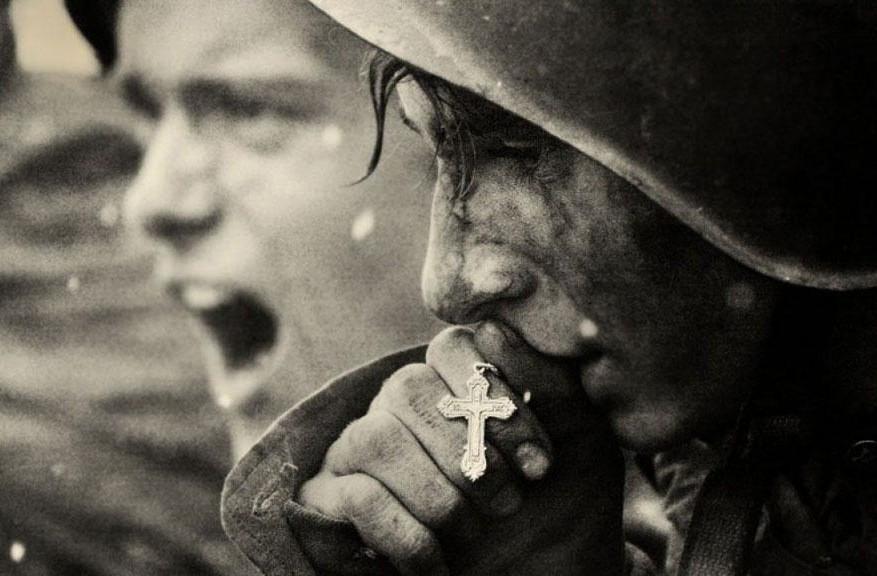Русские солдаты перед началом битвы на Курской дуге, июль 1943
