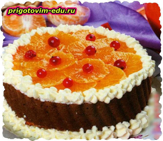 Двухцветный мандариновый торт