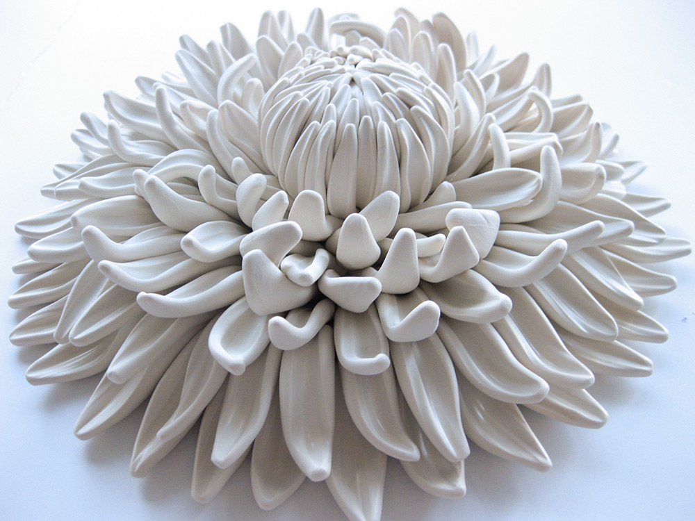 Polymer Flower Sculptures and Tiles by Angela Schwer