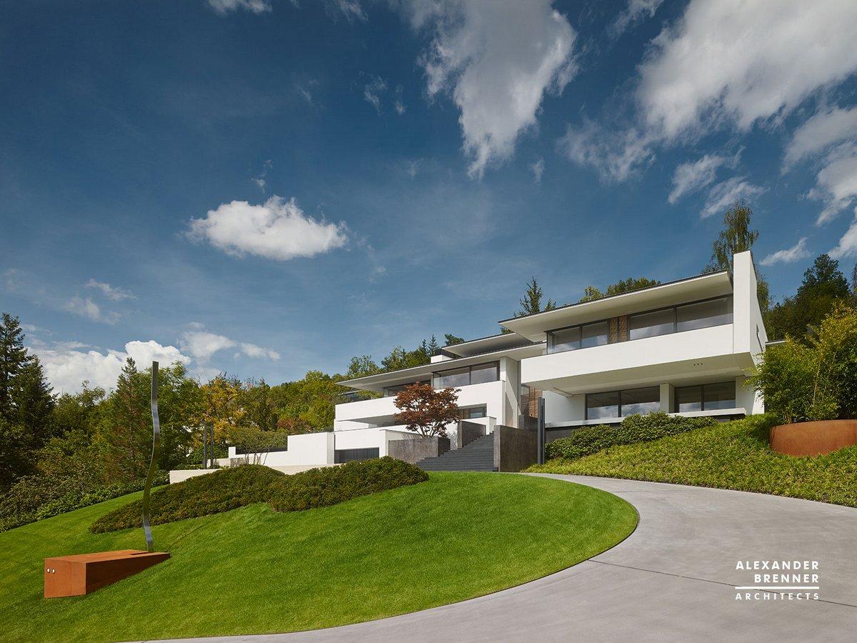 Alexander Brenner Architects, An Der Achalm, дом на вершине холма, красивый вид из окон частного дома, шикарные частные дома в Германии