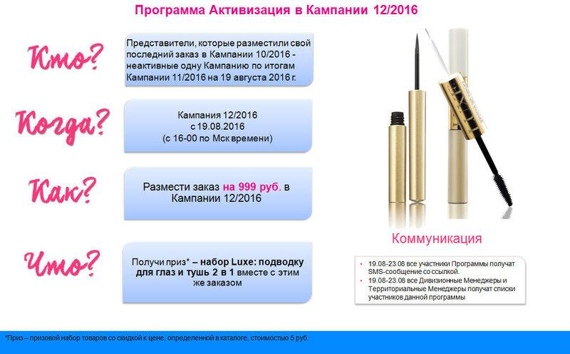 программа активизация в кампании 12 2016
