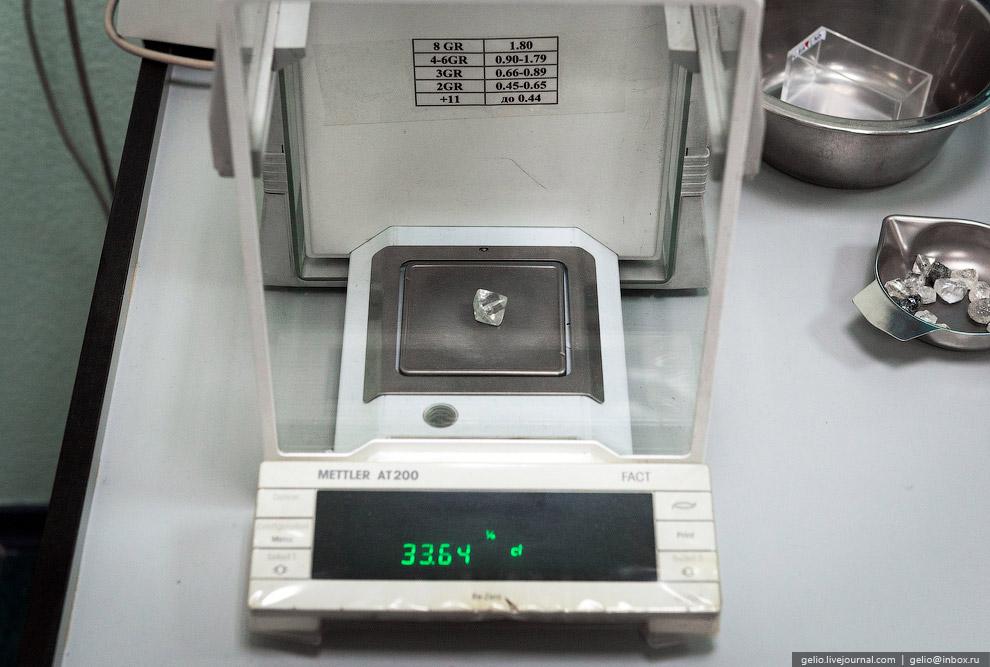 1 карат — 0,2 г (200 мг). Камни весом больше 50 карат находят несколько раз в месяц. Крупнейший