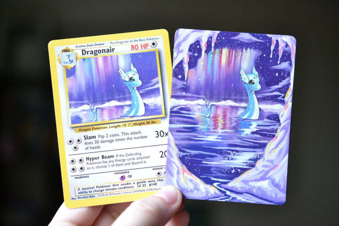 When an artist recycles her old Pokemon cards