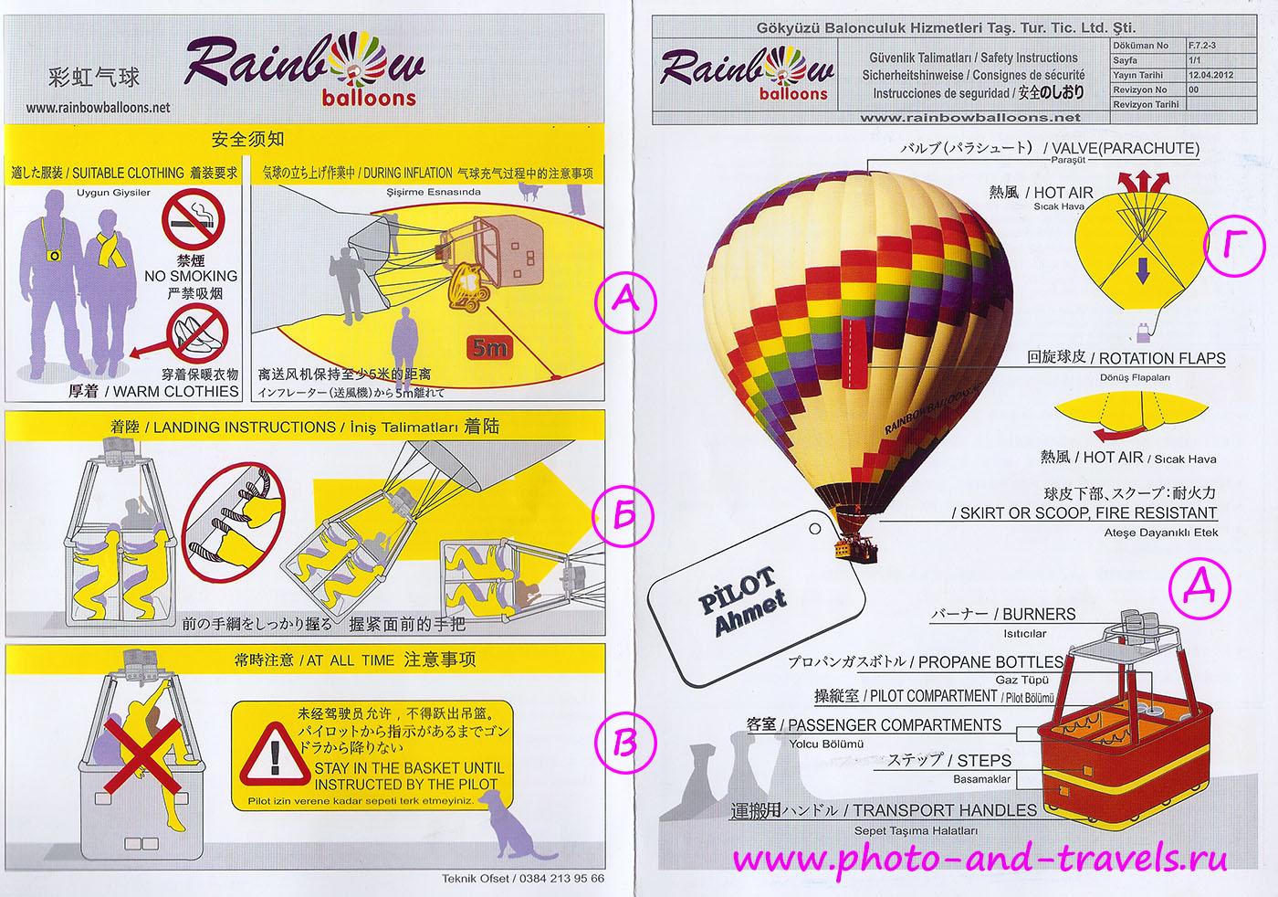 Рисунок 6. Рекомендации по безопасности во время полета на воздушном шаре.