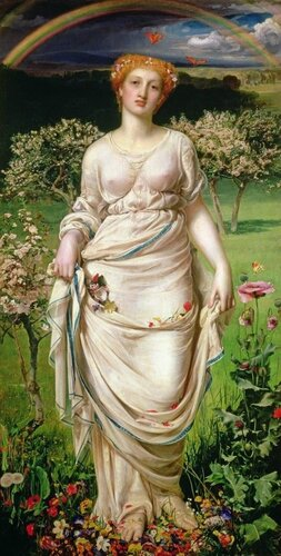 Gentle Spring, Oil On Canvas by Anthony Frederick Augustus Sandys (1829-1904, United Kingdom)