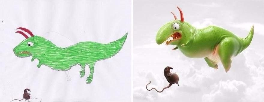 """Разные художники """"оживили"""" детские рисунки, каждый – в своём стиле (8 фото)"""