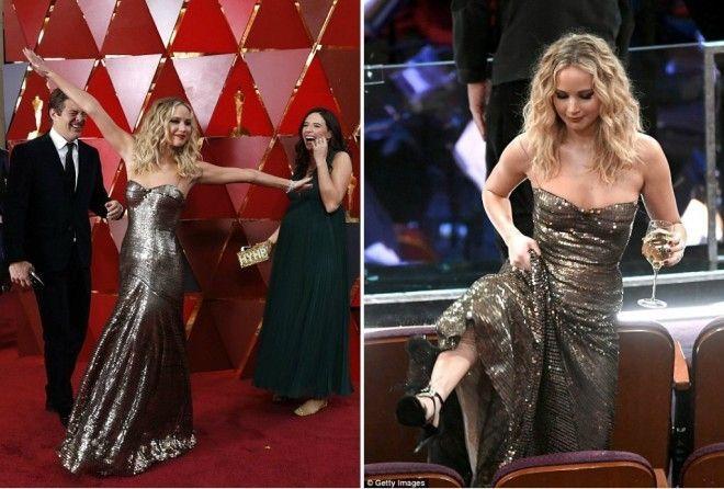 Дженнифер Лоуренс перебрала лишнего на церемонии Оскар (9 фото)
